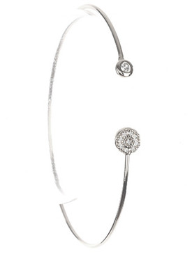 Bracelet / Crystal Stone / Wire Cuff / Round / Pave Crystal Stone / 2 1/3 Inch Diameter / Nickel And Lead Compliant