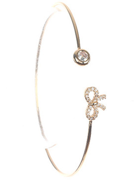 Bracelet / Crystal Stone / Wire Cuff / Round / Bow / Pave Crystal Stone / 2 1/3 Inch Diameter / Nickel And Lead Compliant