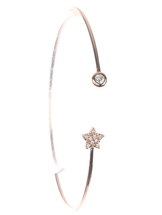 Bracelet / Crystal Stone / Wire Cuff / Round / Star / Pave Crystal Stone / 2 1/3 Inch Diameter / Nickel And Lead Compliant