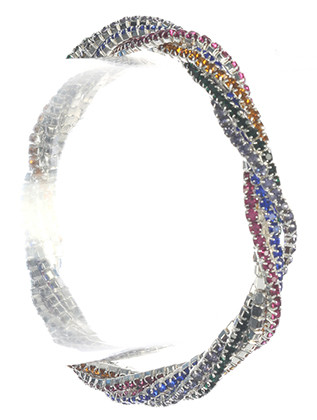 Bracelet / Twisted Multi Strand / Rhinestone Stretch / 2 1/3 Inch Diameter / 1/3 Inch Tall / Nickel And Lead Compliant