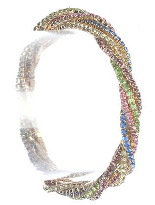 Bracelet / Twisted Multi Strand / Rhinestone Stretch / 2 1/3 Inch Diameter / 1/3 Inch Tall / Nickel And Lead Compliant