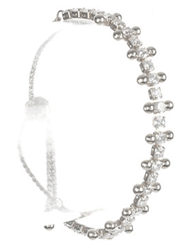 Bracelet / Crystal Stone / Adjutable / Serpentine Chain / Metallic Bead / 2 Inch Diameter / 1/3 Inch Tall / Nickel And Lead Compliant