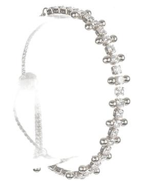 Bracelet / Crystal Stone / Adjutable / Serpentine Chain / Metallic Bead / 2 Inch Diameter / 1/3 Inch Tall / Nickel And Lead Compliant