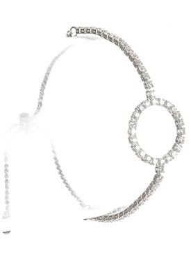 Bracelet / Round Shape / Rhinestone Adjutable / Serpentine Chain / Metallic Bead / 2 Inch Diameter / 2/3 Inch Tall / Nickel And Lead Compliant