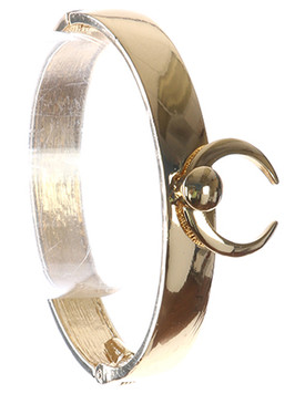 Bracelet / Crescent Charm / Hinged Metal Bangle / 2 1/2 Inch Diameter / 1 Inch Tall / Nickel And Lead Compliant