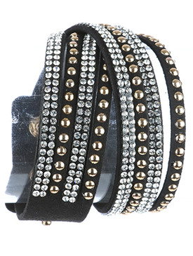 Bracelet / Multi Strand / Faux Suede Band Wraparound / Pave Crystal Stone / Metal Stud / Snap Button Closure / Adjustable / 14 Inch Long / 3/4 Inch Tall / Nickel And Lead Compliant