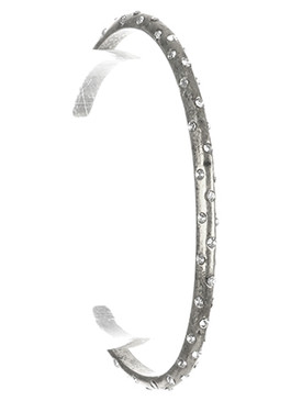 Bracelet / Aged Finish Metal / Adjustable Cuff / Crystal Stone / 2 1/4 Inch Diameter / 1/8 Inch Tall / Nickel And Lead Compliant
