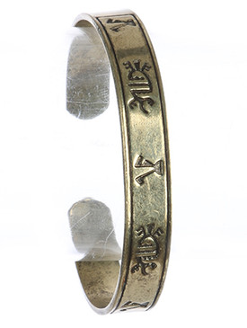 Bracelet / Aged Finish Metal / Tribal Symbol Cuff / 2 3/8 Inch Diameter / 1/3 Inch Tall / Nickel And Lead Compliant
