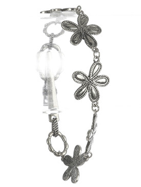 Bracelet / Aged Finish Metal / Flower Chain / Textured / Alligator Clip Closure / 7 1/2 Inch Long / 3/4 Inch Tall / Nickel And Lead Compliant