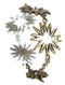 Bracelet / Aged Finish Metal / Cutout Flower Chain / Toggle Closure / 7 1/2 Inch Long / 1 1/4 Inch Tall / Nickel And Lead Compliant