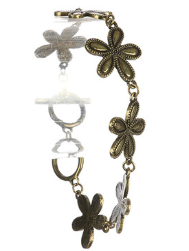 Bracelet / Aged Finish Metal / Flower Chain / Textured / Toggle Closure / 7 1/2 Inch Long / 3/4 Inch Tall / Nickel And Lead Compliant