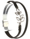 Bracelet / Aged Finish Metal / Double Faux Leather / Cutout Olive Branch / Hammered / Magnetic Closure / 7 1/2 Inch Long / 1/2 Inch Tall / Nickel And Lead Compliant