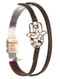 Bracelet / Aged Finish Metal / Double Faux Leather / Cutout Hamsa / Hammered / Magnetic Closure / 7 1/2 Inch Long / 3/4 Inch Tall / Nickel And Lead Compliant