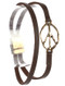 Bracelet / Aged Finish Metal / Double Faux Leather / Cutout Peace Symbol / Hammered / Magnetic Closure / 7 1/2 Inch Long / 2/3 Inch Tall / Nickel And Lead Compliant
