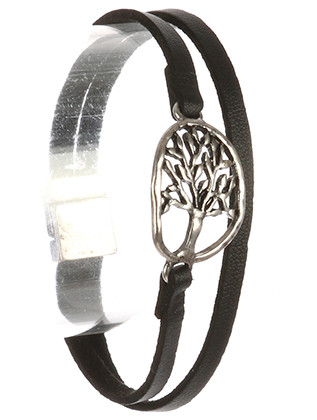 Bracelet / Aged Finish Metal / Double Faux Leather / Cutout Tree Of Life / Hammered / Magnetic Closure / 7 1/2 Inch Long / 3/4 Inch Tall / Nickel And Lead Compliant