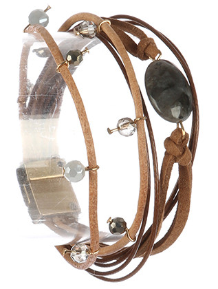 Bracelet / Natural Stone / Multi Strand / Iridescent Bead / Multi Cord / Magnetic Closure / 8 Inch Long / 3/4 Inch Tall / Nickel And Lead Compliant
