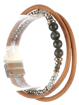 Bracelet / Natural Stone Bead / Multi Strand / Metallic Bead / Cord / Magnetic Closure / 7 Inch Long / 3/8 Inch Tall / Nickel And Lead Compliant