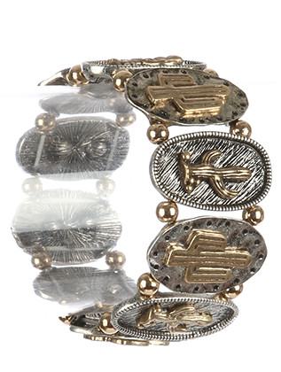 Bracelet / Aged Finish Metal / Cactus Stretch / Hammered Oval Metal / Textured / Etched / Metallic Bead / 2 1/4 Inch Diameter / 1 1/2 Inch Tall / Nickel And Lead Compliant