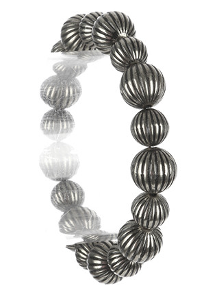 Bracelet / Aged Finish Metal / Metallic Bead Stretch / Pattern Textured / 2 1/3 Inch Diameter / 1/3 Inch Tall / Nickel And Lead Compliant