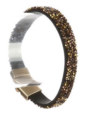 Bracelet / Iridescent Glass Chip / Faux Leather Band / Magnetic Closure / 7 1/2 Inch Long / 1/3 Inch Tall / Nickel And Lead Compliant