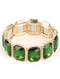 Bracelet / Emerald Cut / Glass Stone Stretch / Textured Metal Frame / 2 1/8 Inch Diameter / 7/8 Inch Tall / Nickel And Lead Compliant