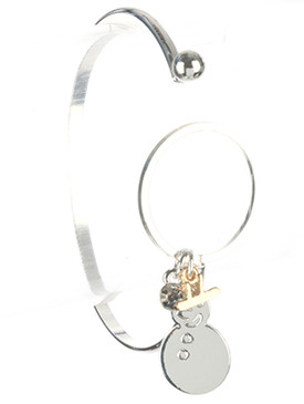 Bracelet / Metal Snowman / Christmas Charm / Hat / Crystal Stone / Cutout / Two Tone / Winter / Holidays / Hook Closure / 2 1/3 Inch Diameter / 1 7/8 Inch Tall / Nickel And Lead Compliant