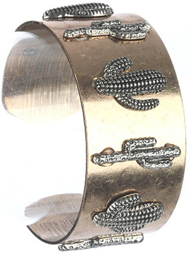 Bracelet / Aged Finish Metal / Cacti Cuff / Textured / Two Tone / 2 1/2 Inch Diameter / 1 1/8 Inch Tall / Nickel And Lead Compliant