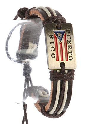 Bracelet / Faux Leather Band / Adjustable Cord / Message Metal Plate / Puerto Rico / Flag / Cord Wrapped / 2 1/8 Inch Diameter / 2/3 Inch Tall / Nickel And Lead Compliant
