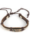 Bracelet / Faux Leather Band / Adjustable Cord / Metal Plate / Puerto Rican Flag / Coqui Frog / Cord Wrapped / 2 1/8 Inch Diameter / 2/3 Inch Tall / Nickel And Lead Compliant