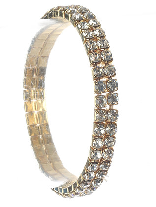 Bracelet / Double Layer / Rhinestone Stretch / Kid Size / 2 Inch Diameter / 1/4 Inch Tall / Nickel And Lead Compliant