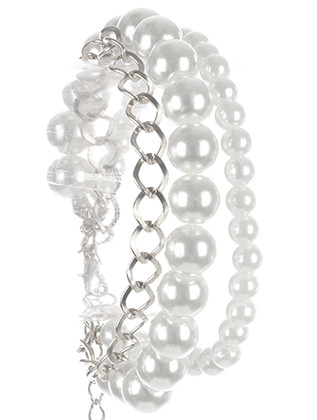 Bracelet / Double Strand Pearl / Chain / Crystal Stone / Metallic Bead / 7 Inch Long / 7/8 Inch Tall / Nickel And Lead Compliant