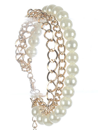 Bracelet / Double Chain / And Pearl / 7 Inch Long / 3/4 Inch Tall / Nickel And Lead Compliant