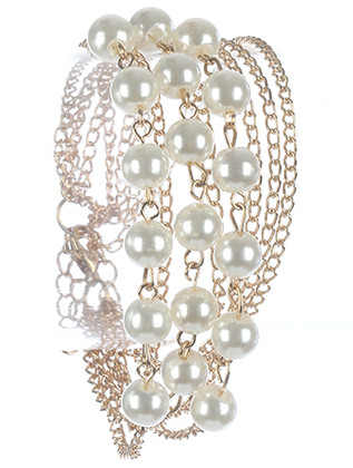 Bracelet / Multi Chain / Pearl / 7 Inch Long / 1 Inch Tall / Nickel And Lead Compliant