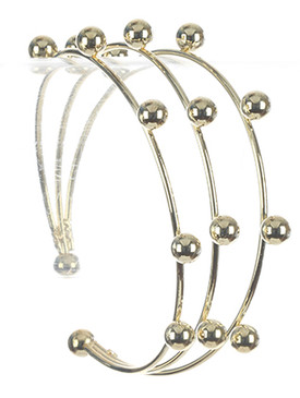 Bracelet / Three Layer / Wire Cuff / Metallic Bead / 2 3/8 Inch Diameter / 1 1/8 Inch Tall / Nickel And Lead Compliant