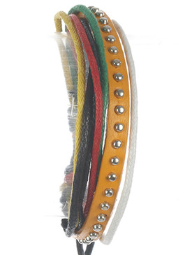 Bracelet / Faux Leather Band / Multi Cord Adjustable / Metallic Stud / Multi Color / 2 1/8 Inch Diameter / Nickel And Lead Compliant