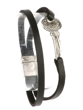 Bracelet / Aged Finish Metal / Message Key / Blessed / Faux Leather / Double Strand / Magnetic Closure / 7 Inch Long / 2/3 Inch Tall / Nickel And Lead Compliant