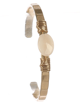 Bracelet / Natural Stone / Metal Cuff / Wire Wrapped / Matte Finish / Grooved Metal / 2 1/4 Inch Diameter / 1/3 Inch Drop / Nickel And Lead Compliant