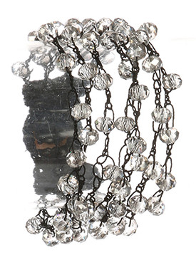 Bracelet / Multi Strand / Iridescent Glass Bead / Crochet Yarn / Button Closure / 7 Inch Long / 1 Inch Tall / Nickel And Lead Compliant