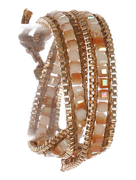 Bracelet / Iridescent Glass Bead / Double Chain Wraparound / Cord / Wire Wrapped / Box Chain / 14 Inch Long / 3/8 Inch Tall / Nickel And Lead Compliant