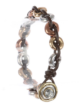 Bracelet / Hammered Metal Ring / Interlaced Rubber Cord / Glass Stone / Aged Finish / Three Tone / 7 1/2 Inch Long / 1/3 Inch Tall / Nickel And Lead Compliant
