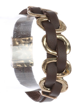 Bracelet / Hammered Metal / Interlaced Faux Leather Strand / Aged Finish / 7 1/2 Inch Long / 3/4 Inch Tall / Nickel And Lead Compliant