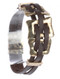 Bracelet / Hammered Metal / Interlaced Faux Leather Strand / Aged Finish / 7 1/2 Inch Long / 1 Inch Tall / Nickel And Lead Compliant