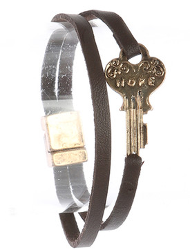 Bracelet / Aged Finish Metal / Message Key / Hope / Double Strand / Faux Leather / Magnetic Closure / 7 1/2 Inch Long / 1/2 Inch Tall / Nickel And Lead Compliant