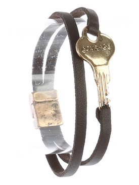 Bracelet / Aged Finish Metal / Message Key / Courage / Double Strand / Faux Leather / Magnetic Closure / 7 1/2 Inch Long / 1/2 Inch Tall / Nickel And Lead Compliant