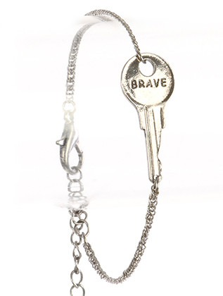 Bracelet / Aged Finish Metal / Message Key Chain / Brave / 7 Inch Long / 1/2 Inch Tall / Nickel And Lead Compliant