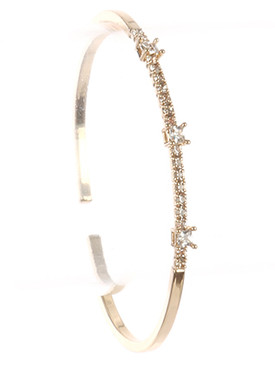 Bracelet / Pave Crystal Stone / Metal Cuff / Comfort Flex / Adjustable / 2 1/4 Inch Diameter / 1/8 Inch Tall / Nickel And Lead Compliant