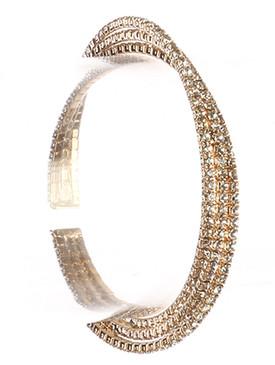 Bracelet / Twisted Three Layer / Rhinestone Cuff / Metal Setting / 2 1/8 Inch Diameter / 1/4 Inch Tall / Nickel And Lead Compliant