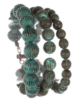 Bracelet / Aged Finish Metallic Bead / Three Strand Stretch / 2 1/3 Inch Diameter / Nickel And Lead Compliant