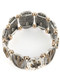 Bracelet / Aged Finish Metal / Cactus Stretch / Two Tone / Hammered / Etched Oval Metal / Patterned / Metallic Bead / 2 1/4 Inch Diameter / 1 1/8 Inch Tall / Nickel And Lead Compliant