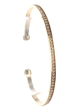 Bracelet / Pave Crystal Stone / Metal Cuff / 2 3/8 Inch Diameter / 1/8 Inch Tall / Nickel And Lead Compliant